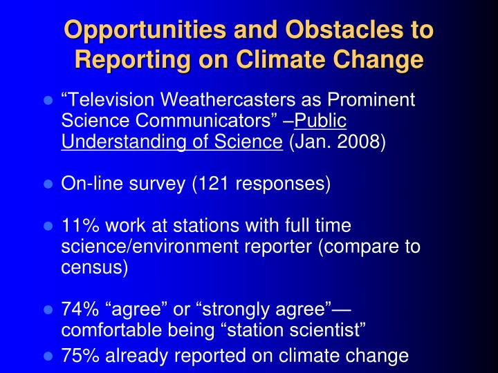 Opportunities and obstacles to reporting on climate change l.jpg