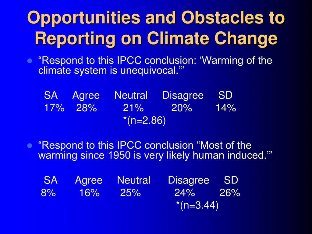 Opportunities and Obstacles to Reporting on Climate Change