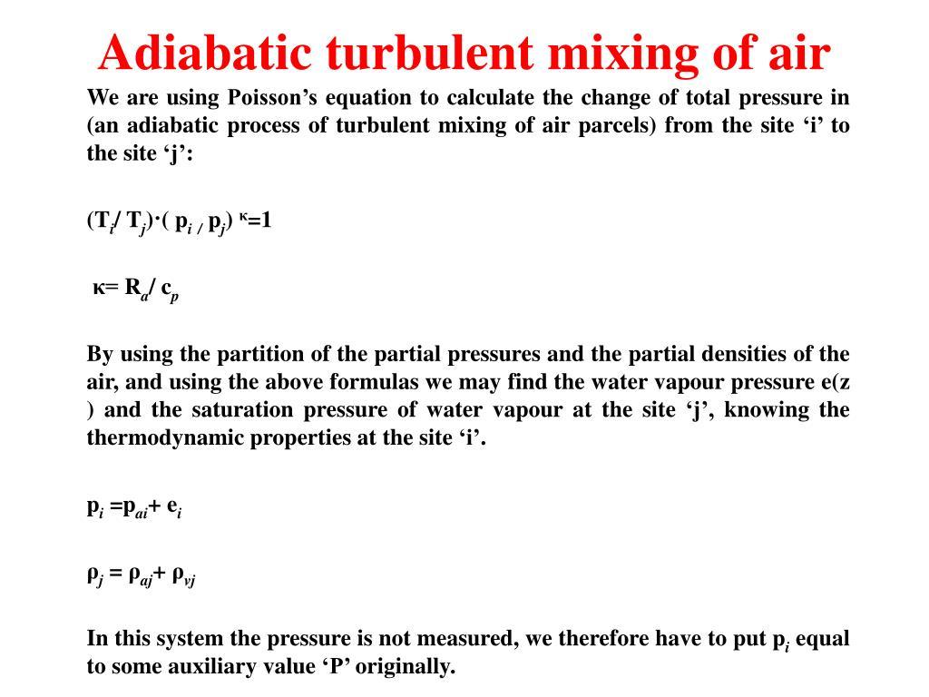 Adiabatic turbulent mixing of air