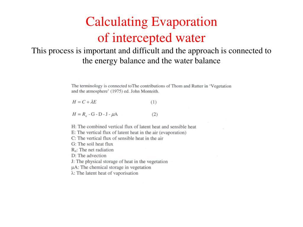 Calculating Evaporation