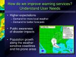 how do we improve warning services understand user needs