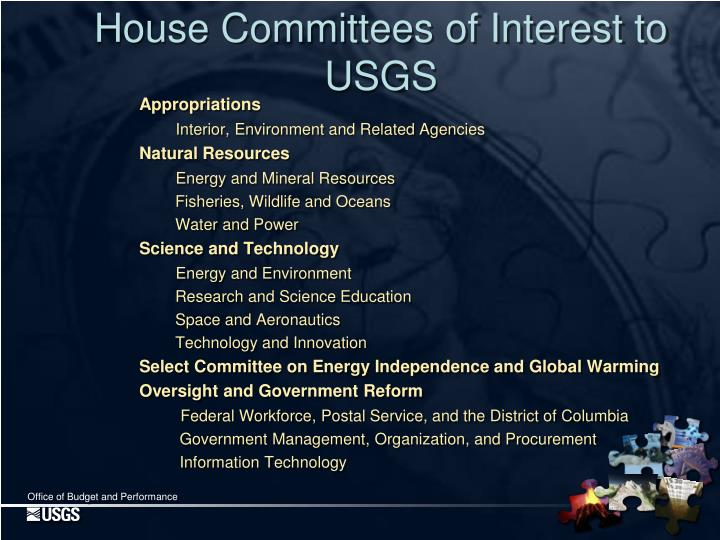House Committees of Interest to USGS