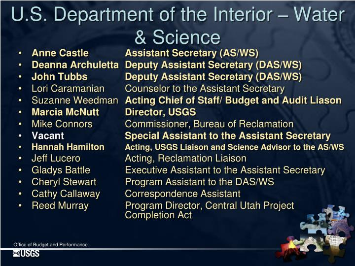 Anne CastleAssistant Secretary (AS/WS)