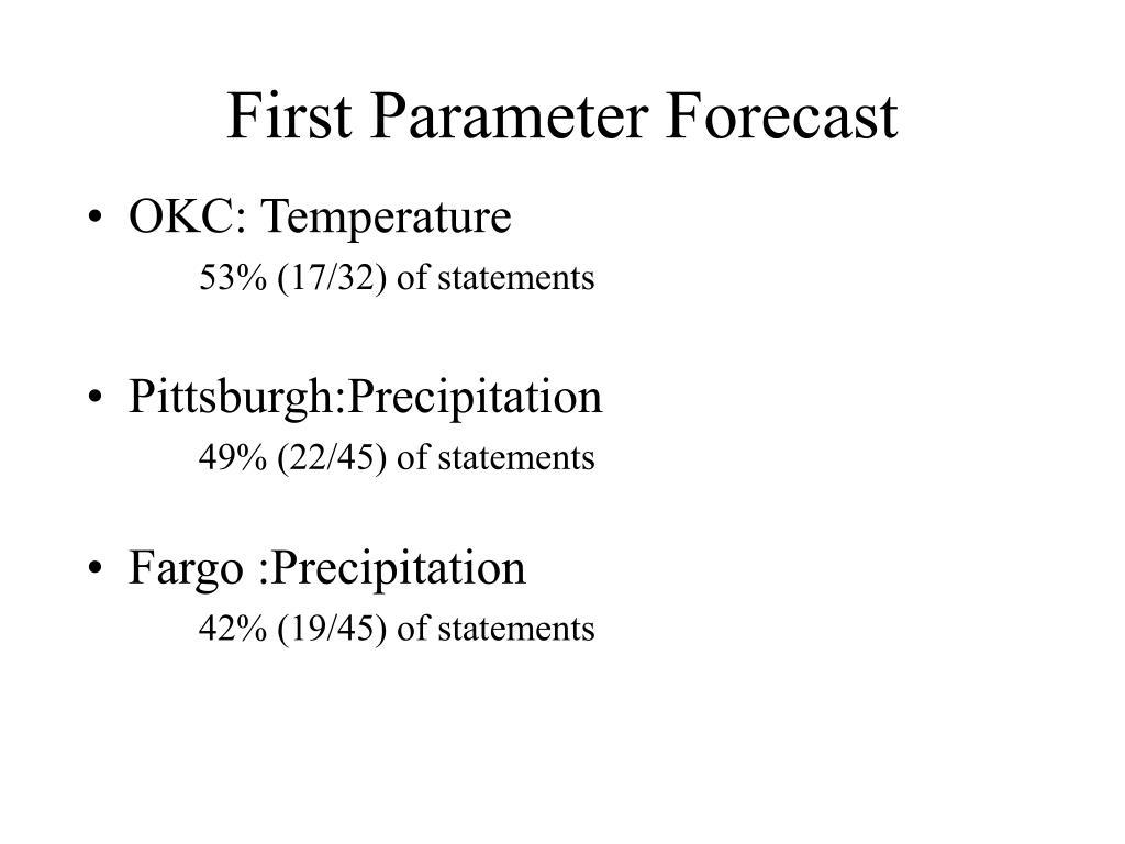 First Parameter Forecast
