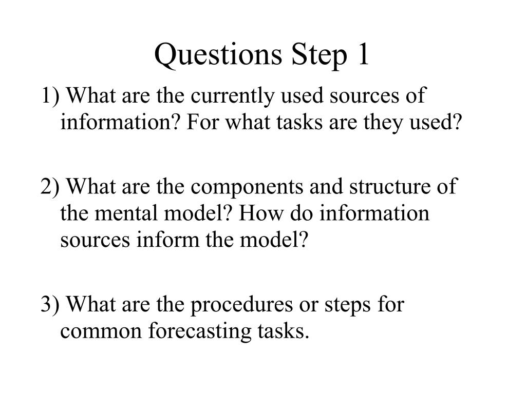 Questions Step 1