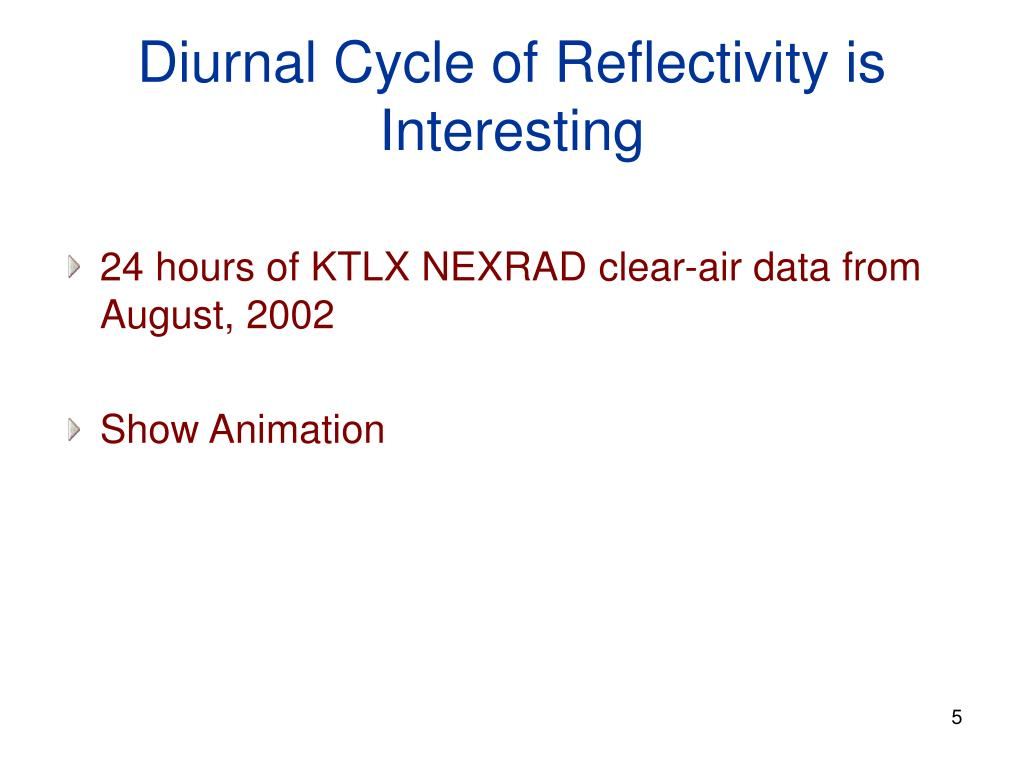 Diurnal Cycle of Reflectivity is Interesting