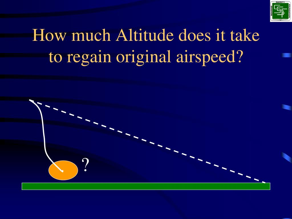 How much Altitude does it take to regain original airspeed?