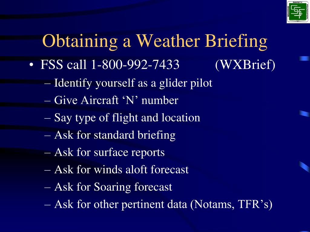 Obtaining a Weather Briefing