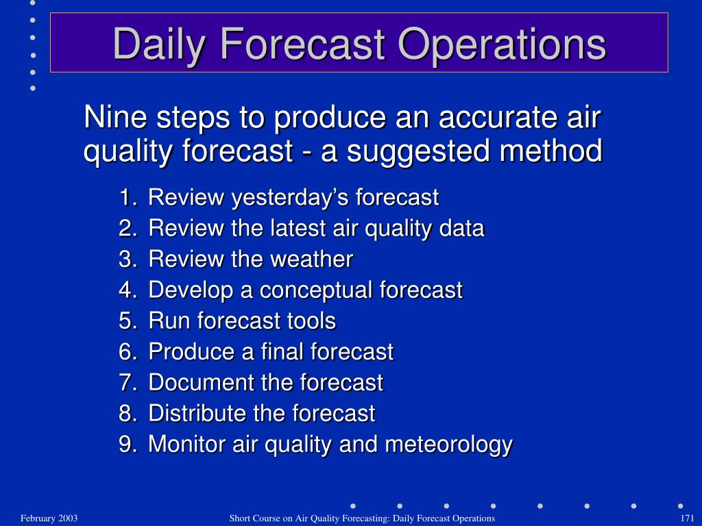 Nine steps to produce an accurate air quality forecast - a suggested method