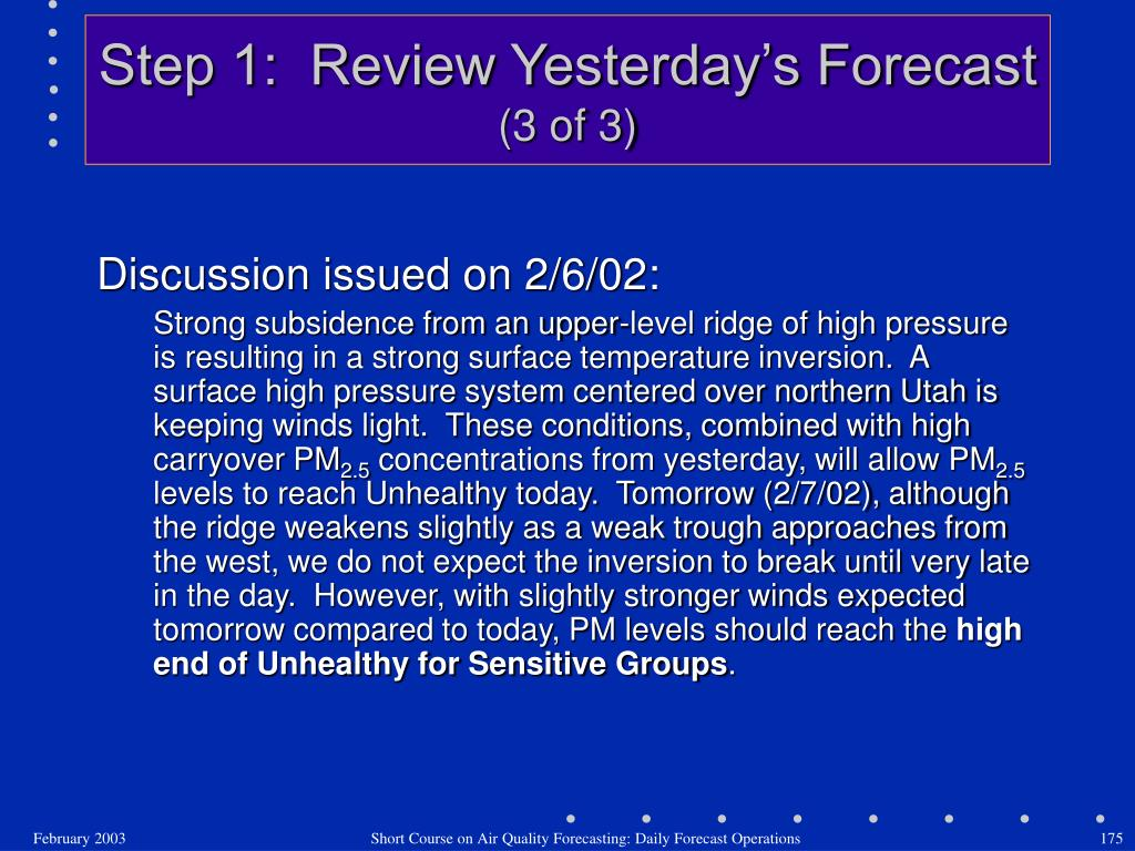 Step 1:  Review Yesterday's Forecast