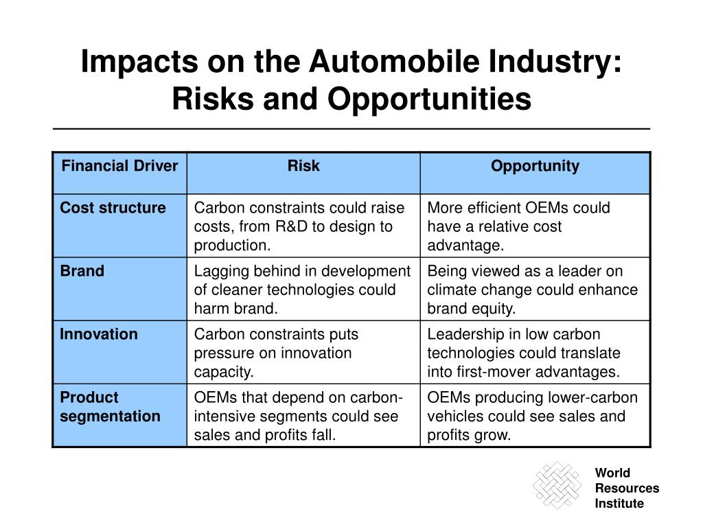 Impacts on the Automobile Industry: Risks and Opportunities