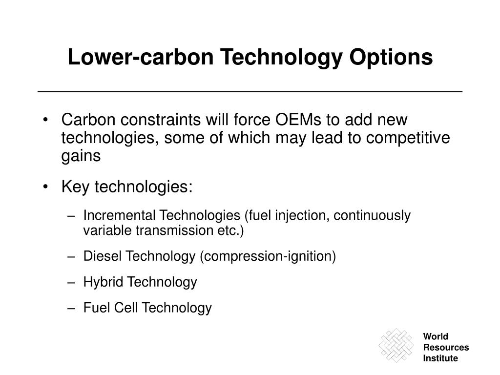 Lower-carbon Technology Options