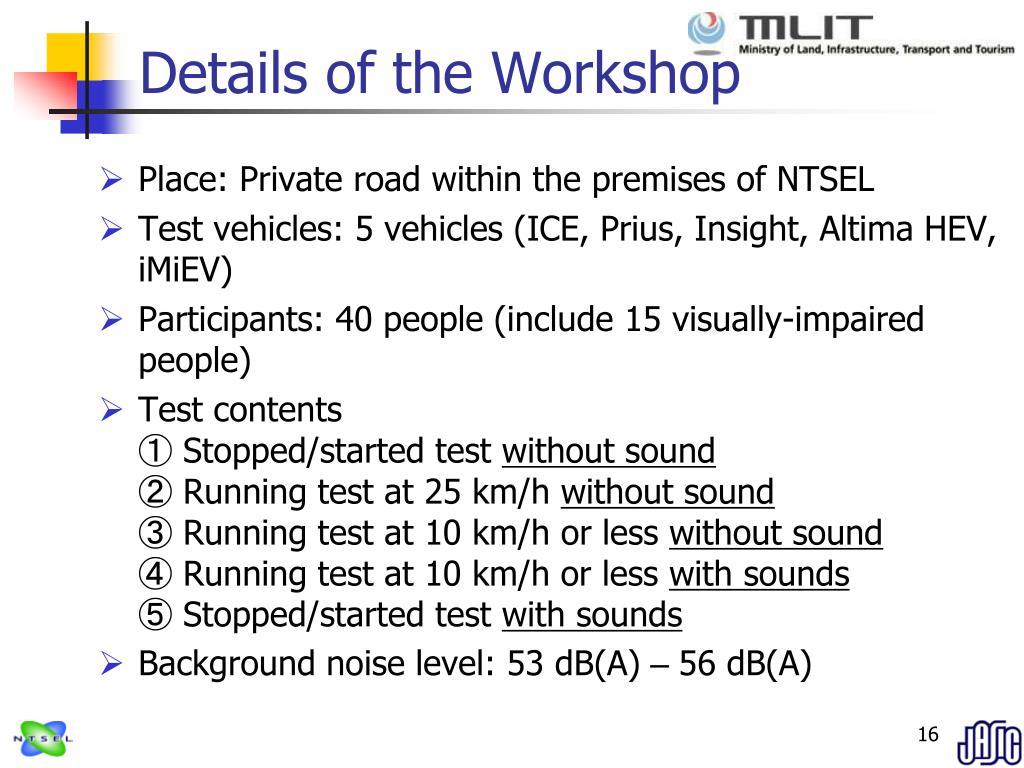 Details of the Workshop
