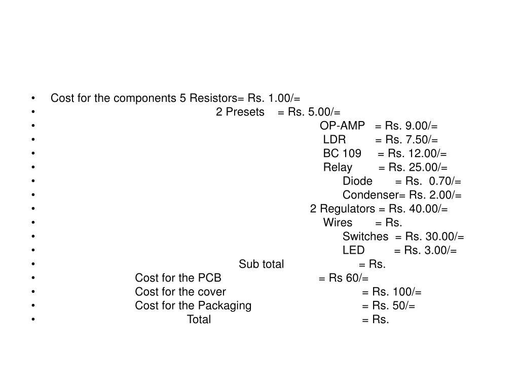 Cost for the components 5 Resistors= Rs. 1.00/=