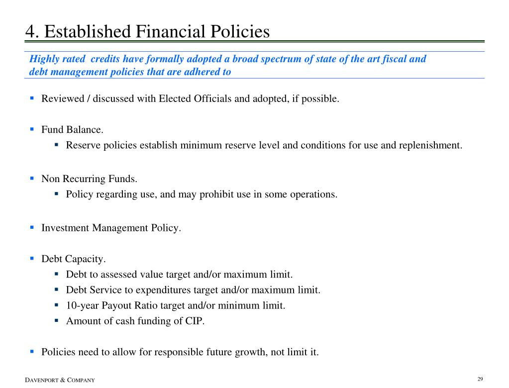 4. Established Financial Policies