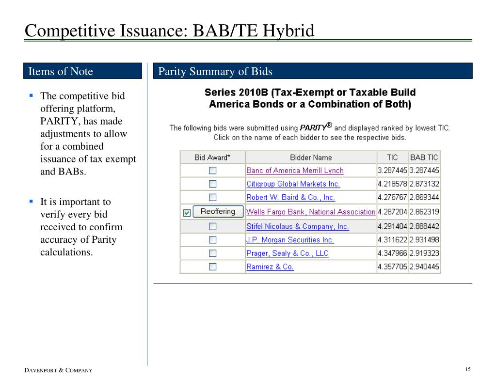 Competitive Issuance: BAB/TE Hybrid