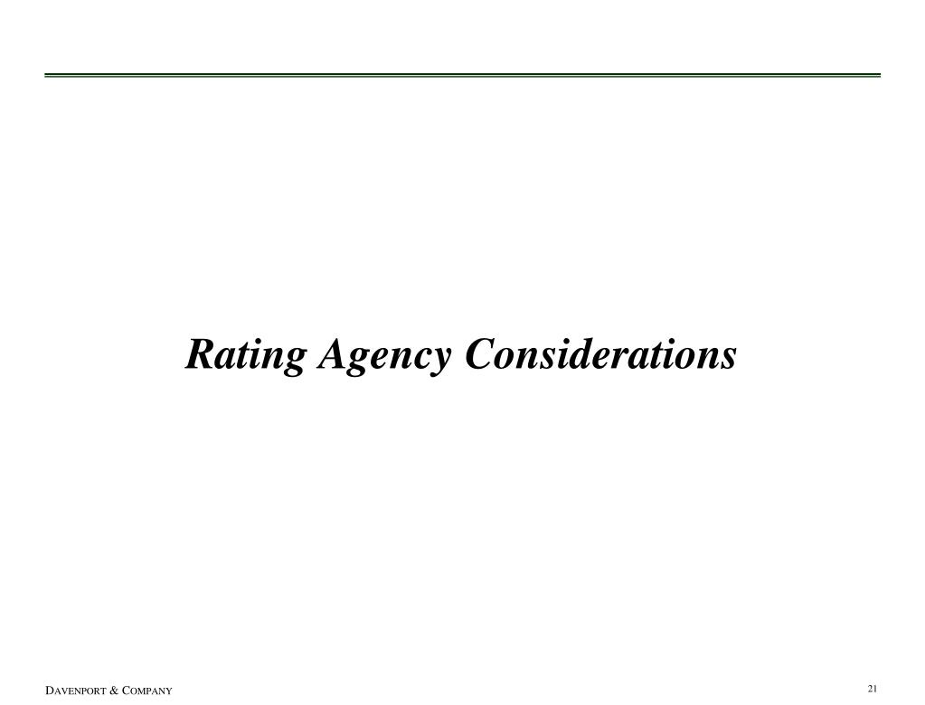 Rating Agency Considerations