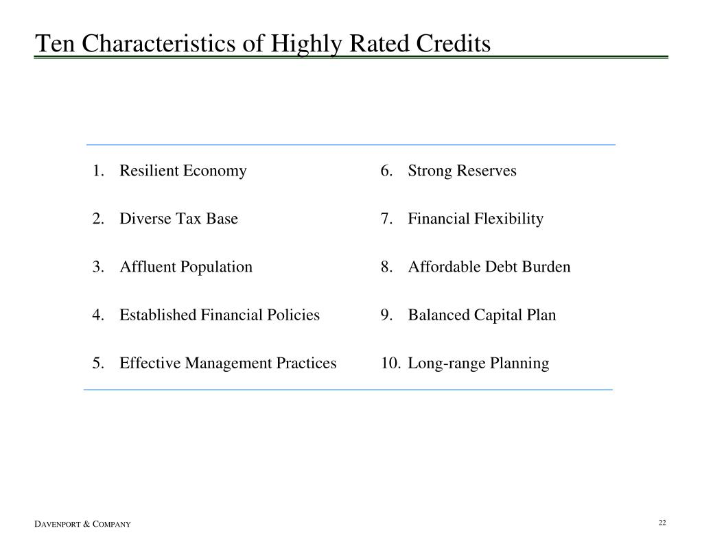 Ten Characteristics of Highly Rated Credits