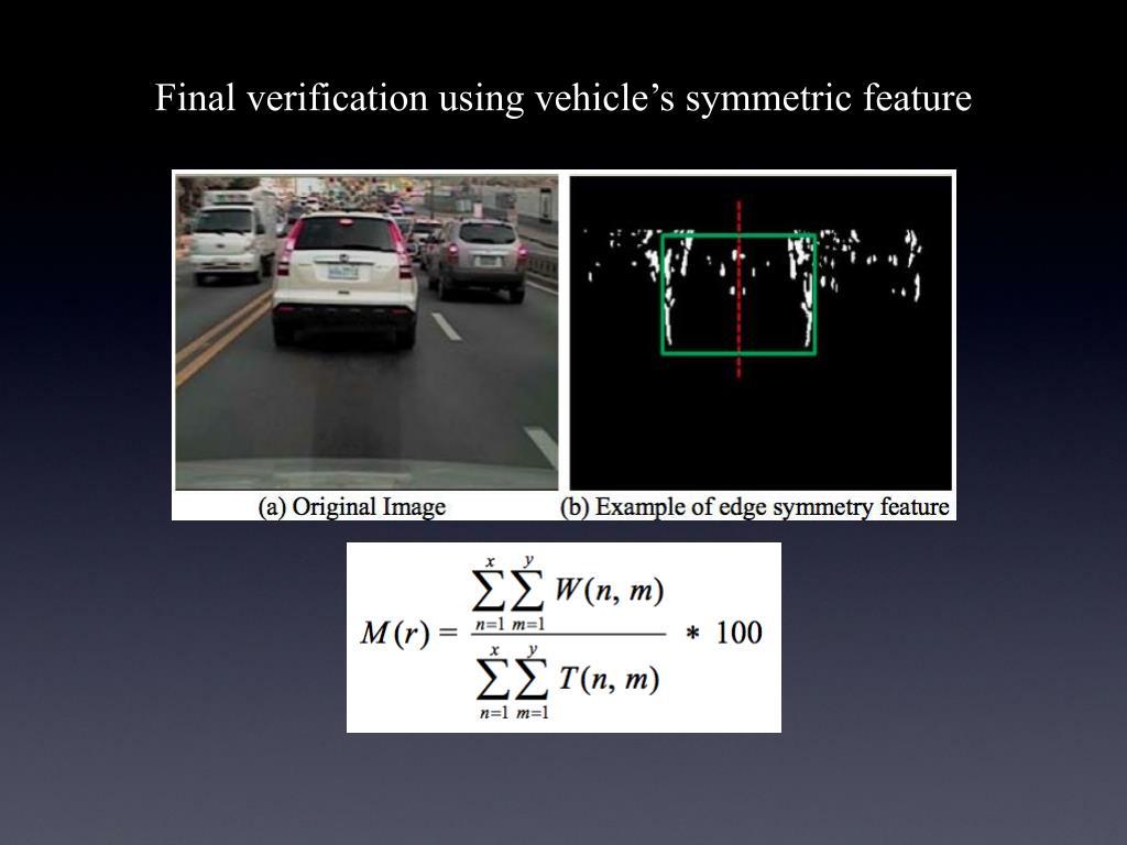 Final verification using vehicle's symmetric feature