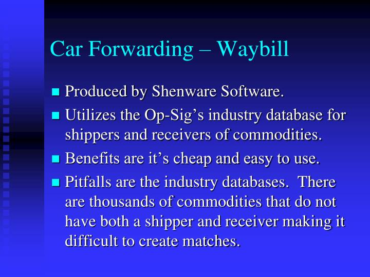 Car Forwarding – Waybill