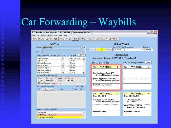 Car Forwarding – Waybills