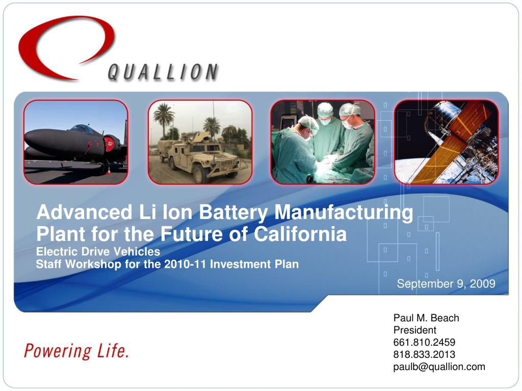 Advanced Li Ion Battery Manufacturing Plant for the Future of California
