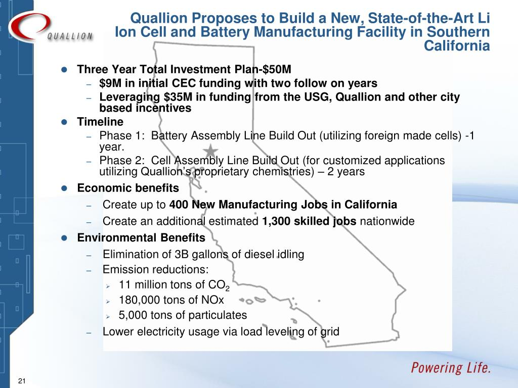Quallion Proposes to Build a New, State-of-the-Art Li Ion Cell and Battery Manufacturing Facility in Southern California