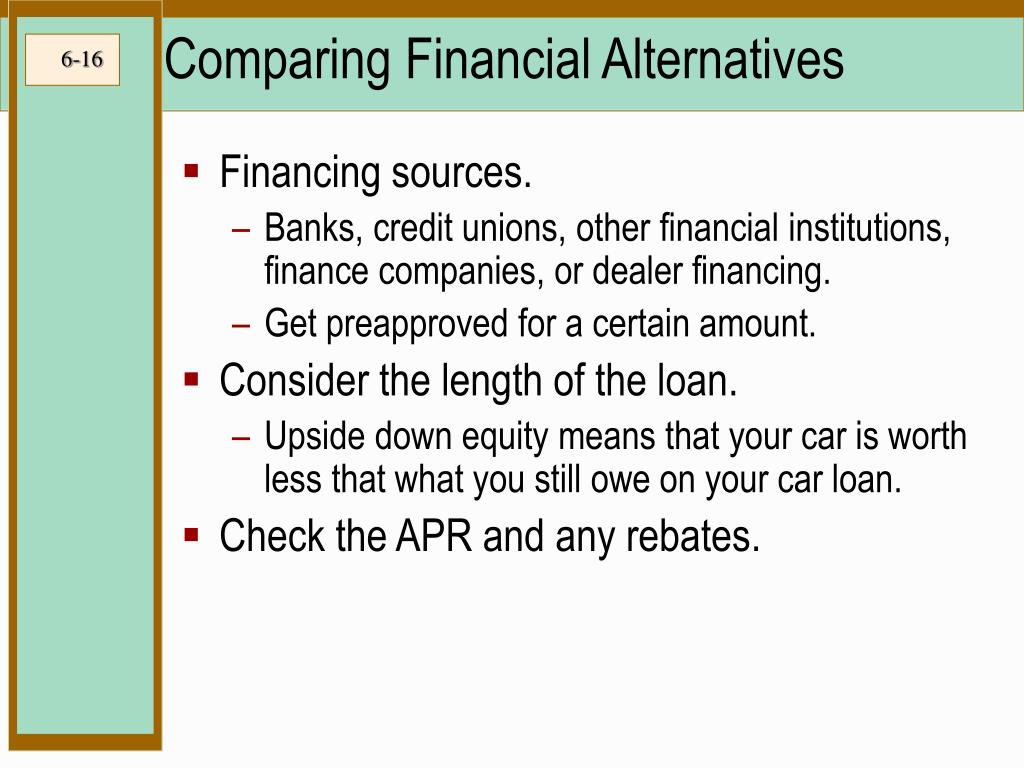 Comparing Financial Alternatives