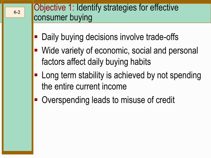 Objective 1 identify strategies for effective consumer buying