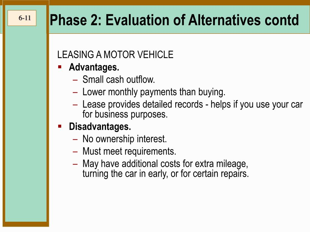 Phase 2: Evaluation of Alternatives contd