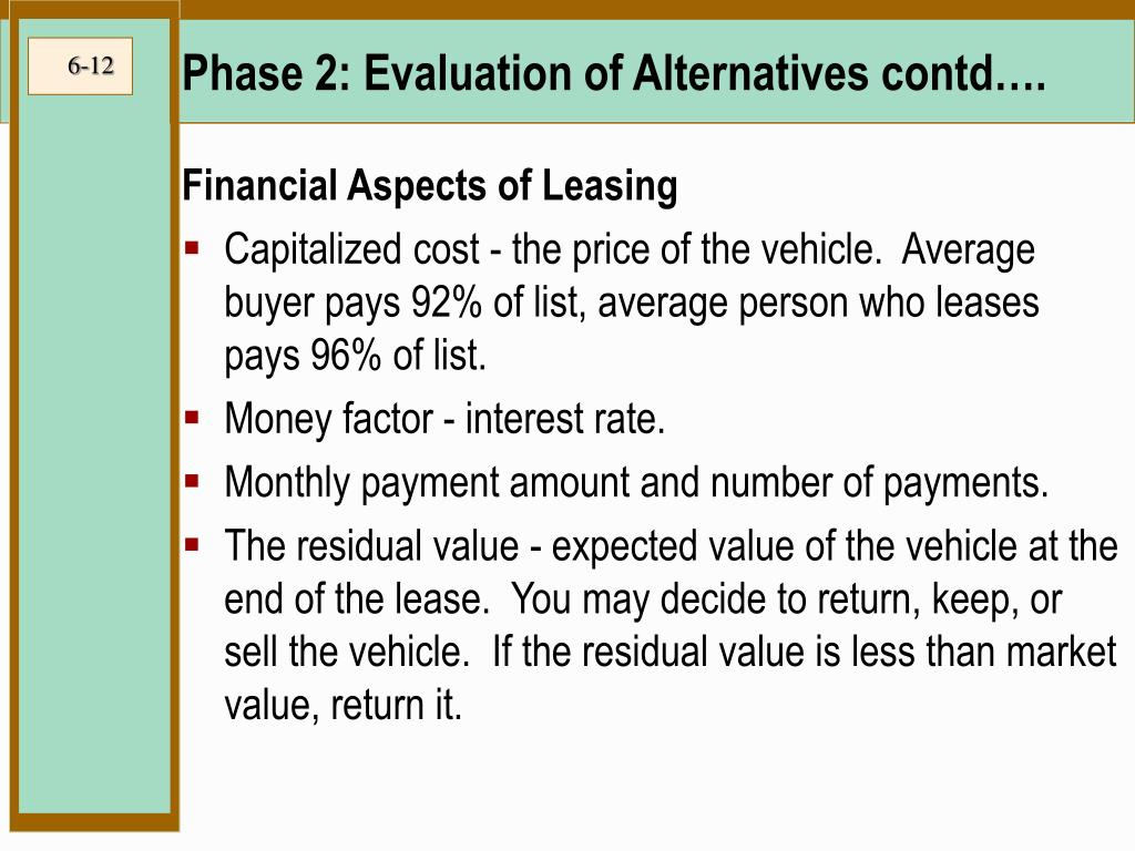 Phase 2: Evaluation of Alternatives contd….
