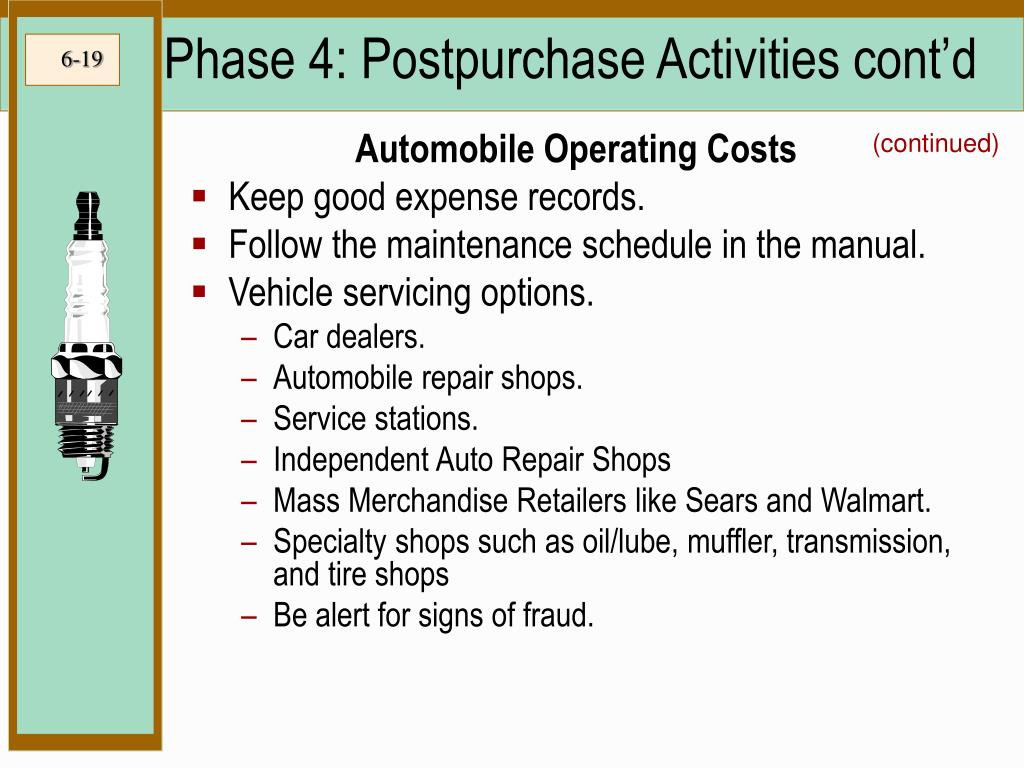 Phase 4: Postpurchase Activities cont'd