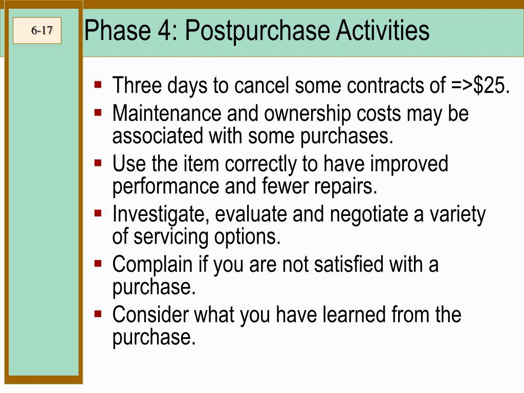 Phase 4: Postpurchase Activities