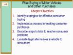 wise buying of motor vehicles and other purchases