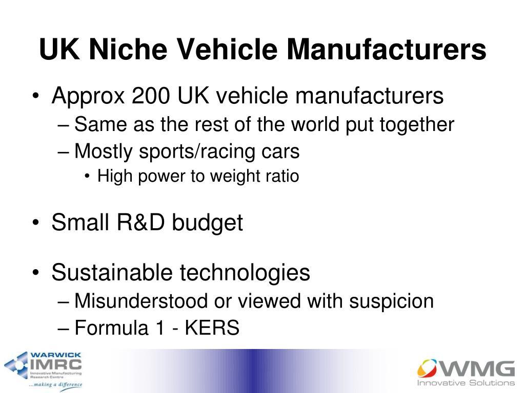 UK Niche Vehicle Manufacturers