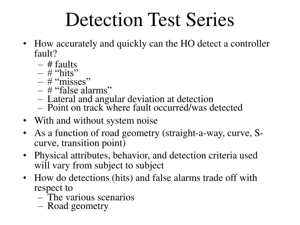 Detection Test Series