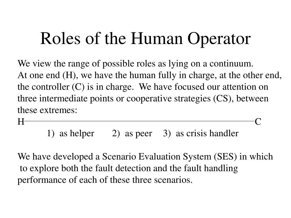 Roles of the Human Operator