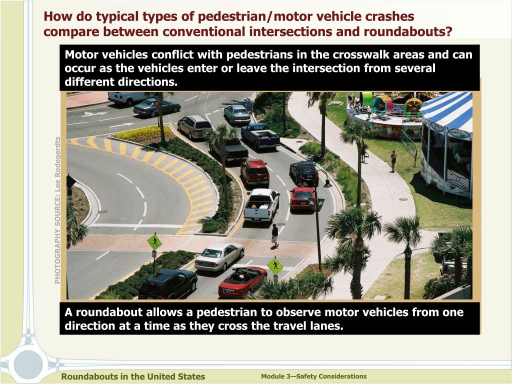 How do typical types of pedestrian/motor vehicle crashes compare between conventional intersections and roundabouts?