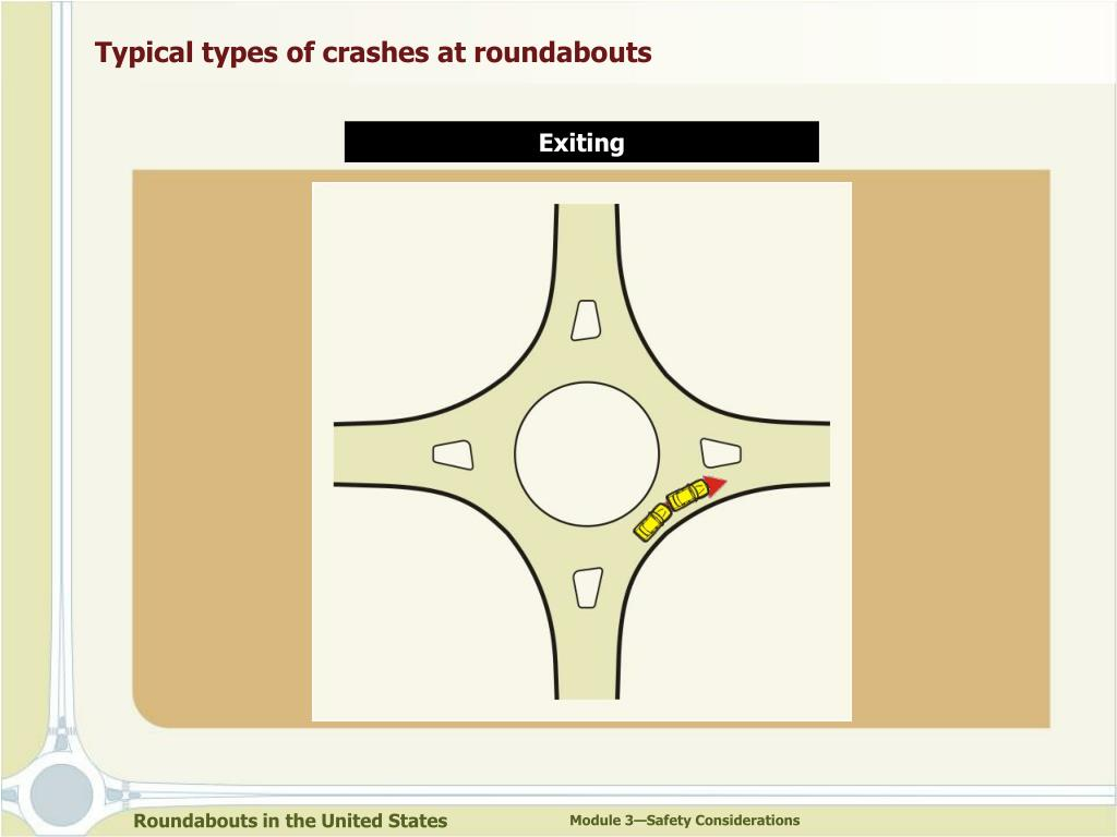 Typical types of crashes at roundabouts