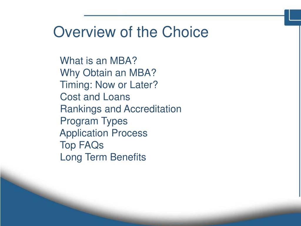 Overview of the Choice