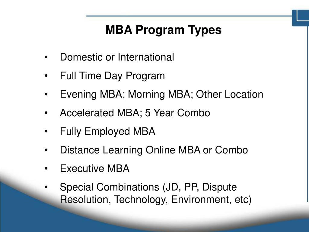 MBA Program Types