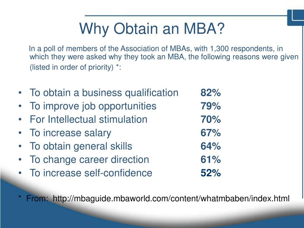 Why Obtain an MBA?