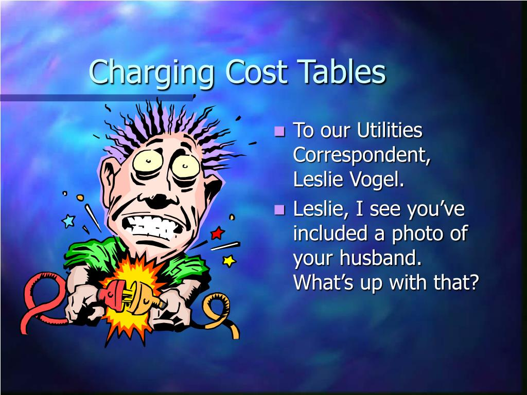 Charging Cost Tables