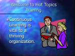 welcome to hot topics training
