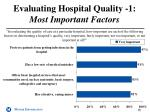 evaluating hospital quality 1 most important factors