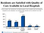 residents are satisfied with quality of care available in local hospitals