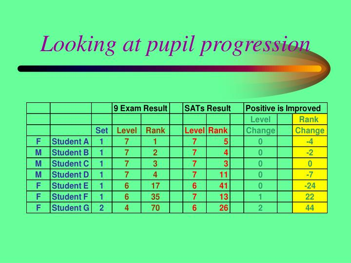 Looking at pupil progression