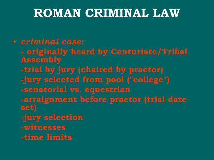 ROMAN CRIMINAL LAW