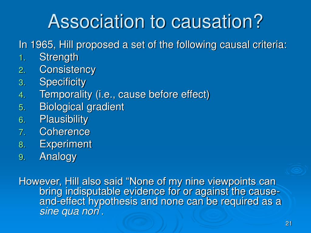 Association to causation?