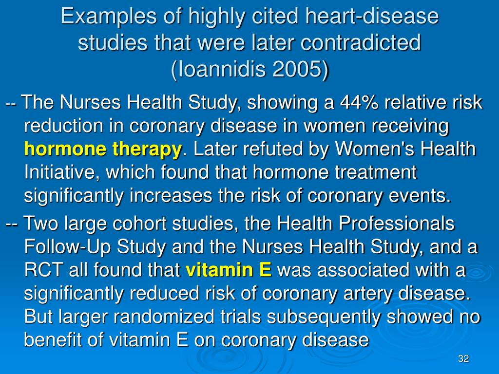 Examples of highly cited heart-disease studies that were later contradicted (Ioannidis 2005)